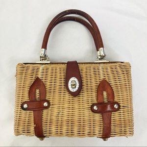 Vintage wicker leather rattan box purse top handle
